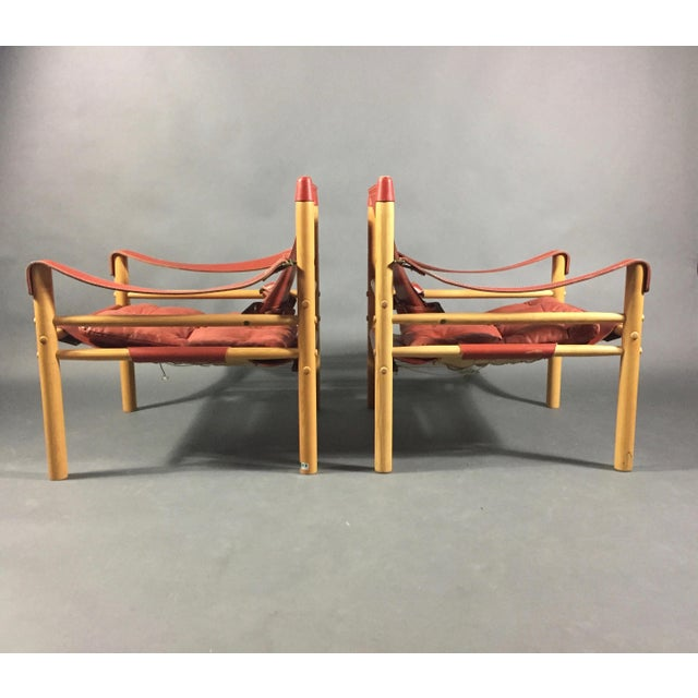 Mid-Century Modern Pair of Arne Norell Red Leather Sirocco Chairs For Sale - Image 3 of 11