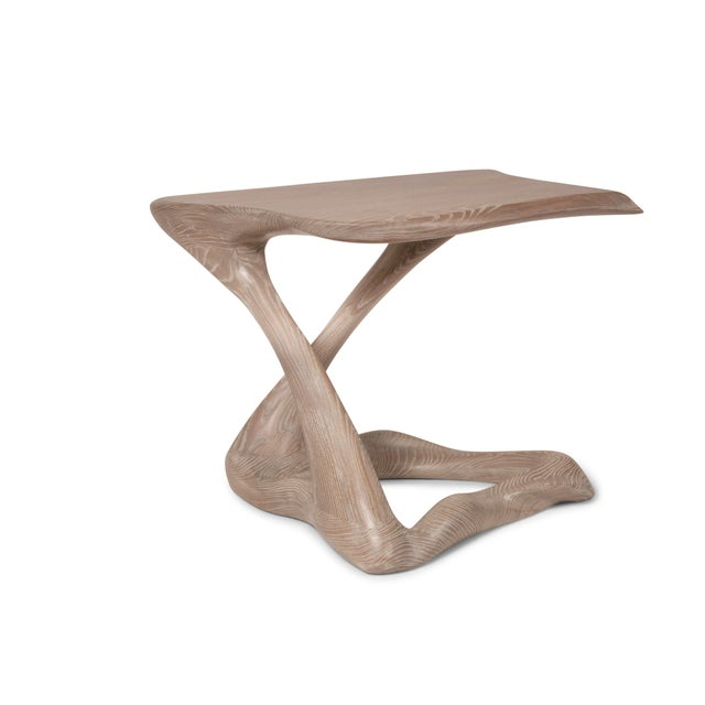 Wood Amorph Tryst Side Table in Gray Custom Stain For Sale - Image 7 of 9