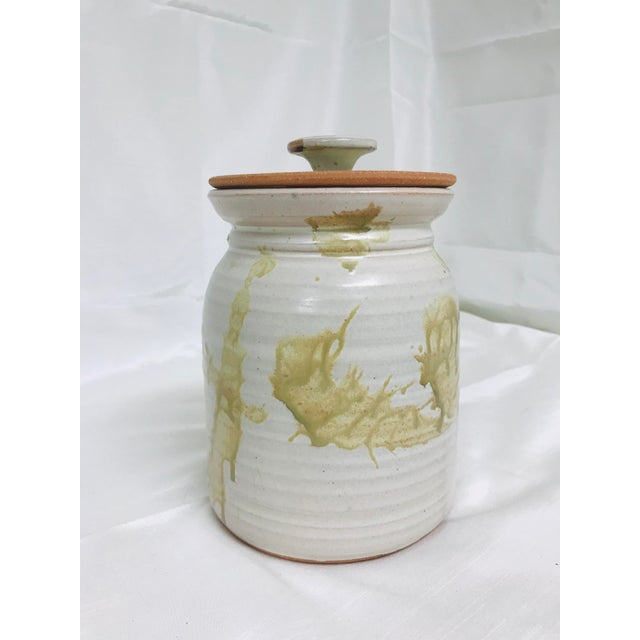 Contemporary glazed lidded crock / canister signed studio pottery.