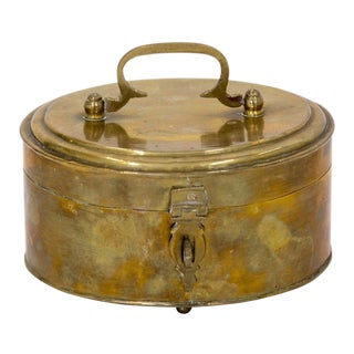Oval Brass Footed Box W/ Handle For Sale