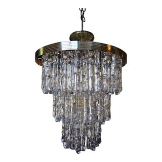 Italian Kalmar Style Lucite and Brass Ice Waterfall Tiered Chandelier For Sale
