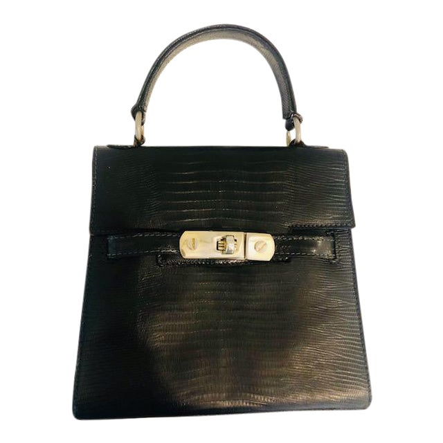 1980s Petite Lizard Skin Kelly Style Purse For Sale