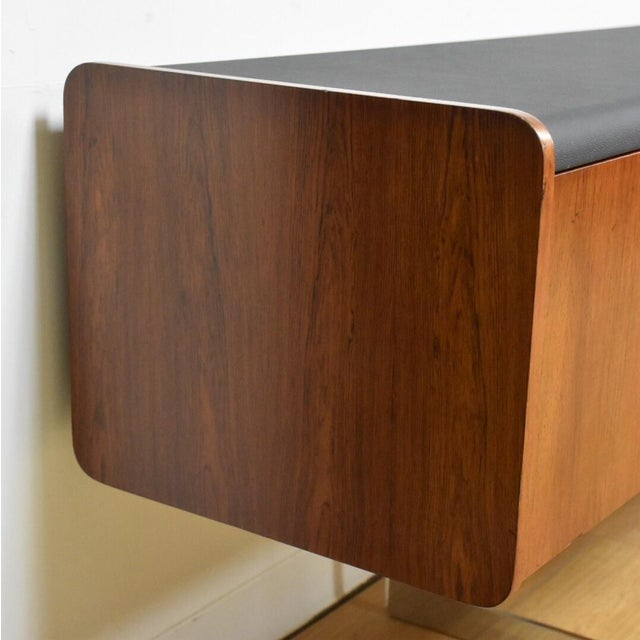Ste-Marie Rosewood & Chrome Credenza For Sale In Boston - Image 6 of 11
