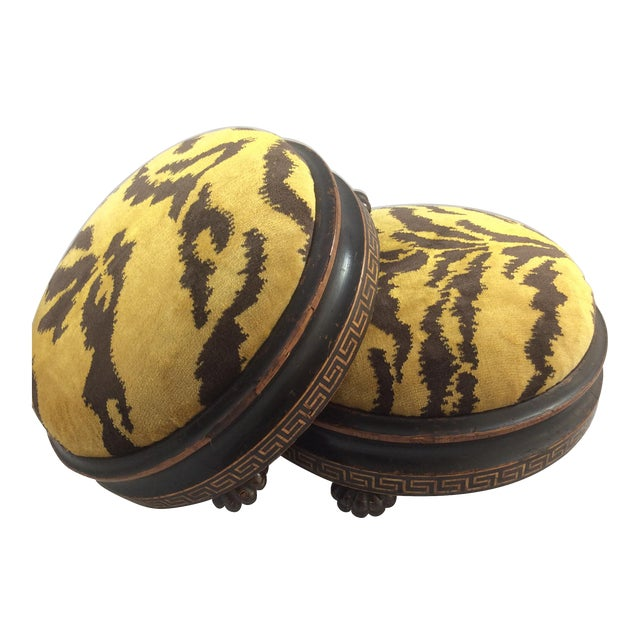 Scalamandre Le Tigre Covered Victorian Footstools - A Pair - Image 1 of 6