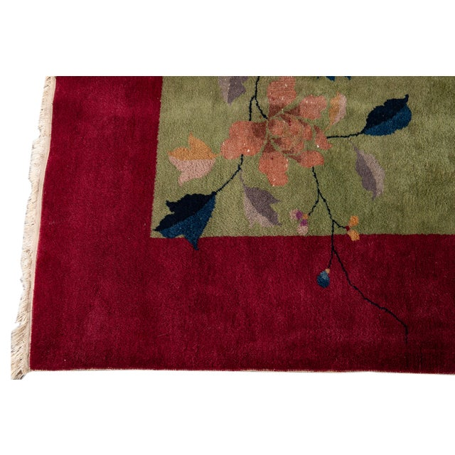 Early 20th Century Early 20th Century Antique Chinese Art Deco Rug For Sale - Image 5 of 8