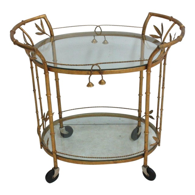French Regency Faux Bamboo Tea Cart For Sale