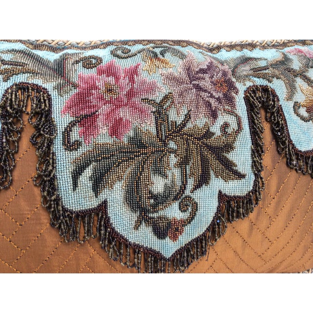 Antique Beadwork Textile Pillow For Sale - Image 9 of 11