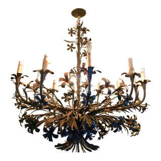 1960s Hollywood Regency Floral Metal Brutalist Chandelier For Sale