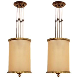 Early 20th Century Art Deco Pendant Lights - a Pair For Sale