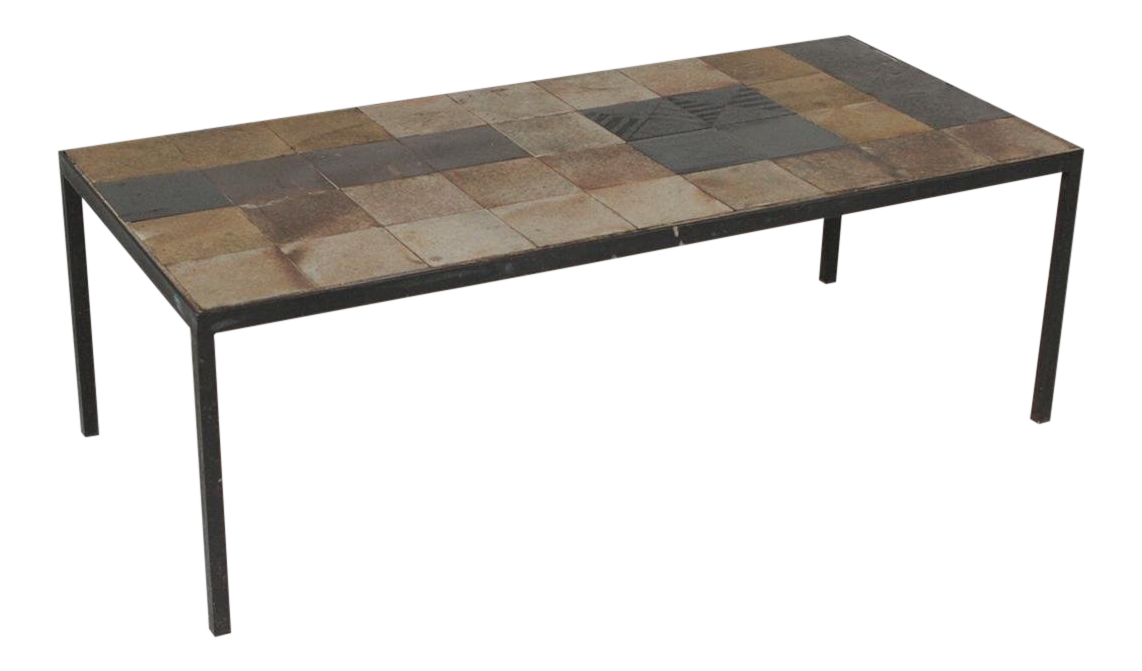 1960s Vintage Iron And Tile Coffee Table