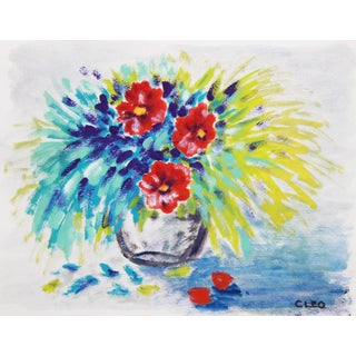 Abstract Floral Still Life Painting by Cleo For Sale