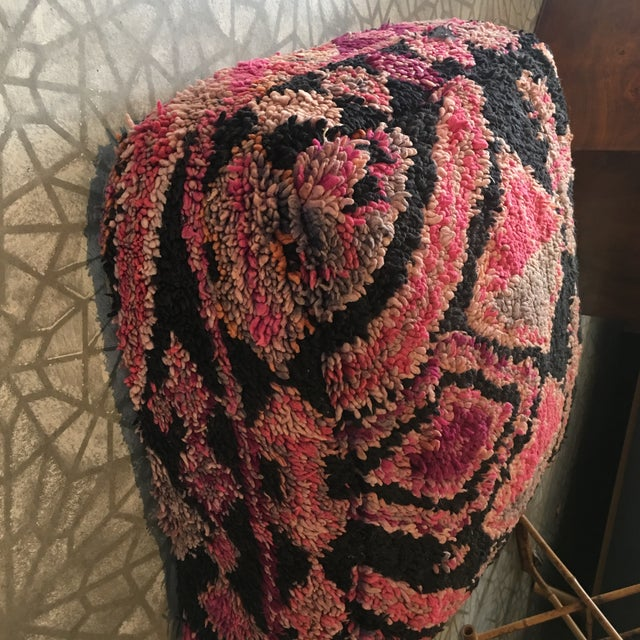 Vintage Moroccan Wool Pouf For Sale - Image 4 of 6