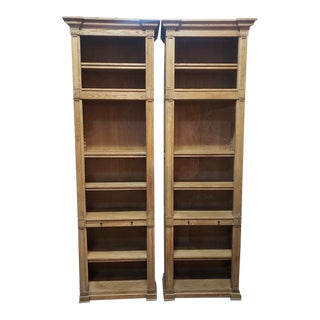 Large Scale Tall & Slender Weathered Oak Open Shelves by Restoration Hardware For Sale