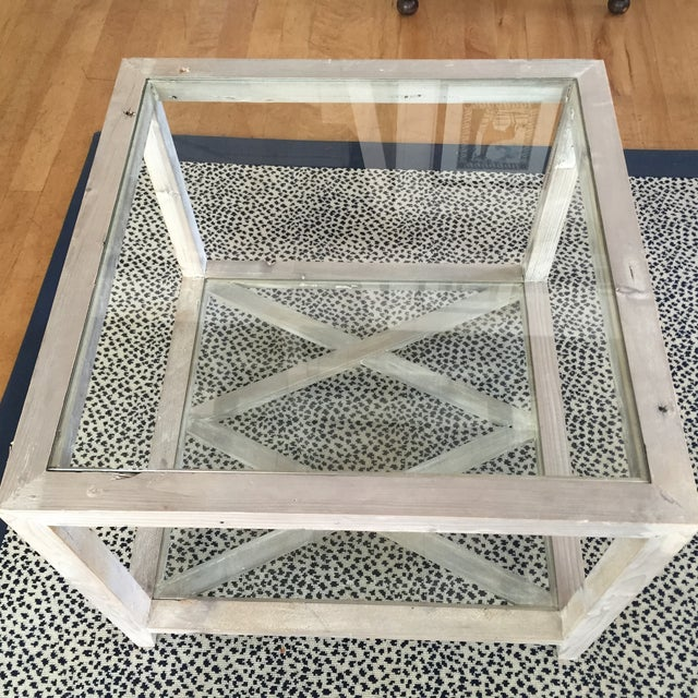 Side Tables Gray-Wash Glass Top - a Pair - Image 5 of 5