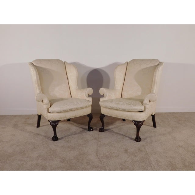 PR KINDEL Winterthur Mahogany Lt Yellow Damask Easy Wingback Fireside Chairs. Offered in overall excellent, gently pre-...