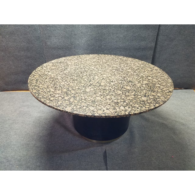 """Dining table with round granite marble top and drum base. Dimensions: 60"""" D, 60"""" W, 31"""" H"""