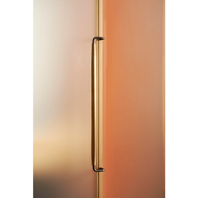 Metal Plano Bar Cabinet in Bronze, Curved Glass Doors, Waxed Leather Bottle Slings For Sale - Image 7 of 12