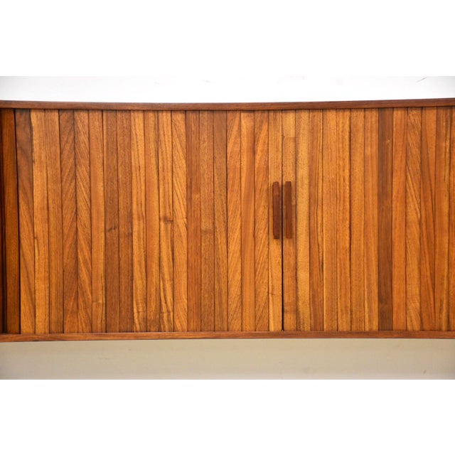 """Wood 108"""" Floating Walnut Tambour Credenza by Furnette For Sale - Image 7 of 12"""