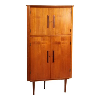1950s Danish Modern Teak Corner Cabinet For Sale