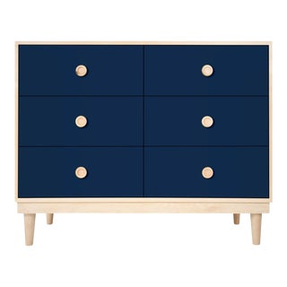 Nico & Yeye Lukka Modern Kids 6 Drawer Dresser Maple Deep Blue For Sale
