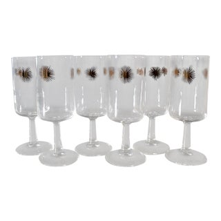 6 Mid Century Starburst Cocktail Glasses Wine Glasses Federal Glass Gold For Sale