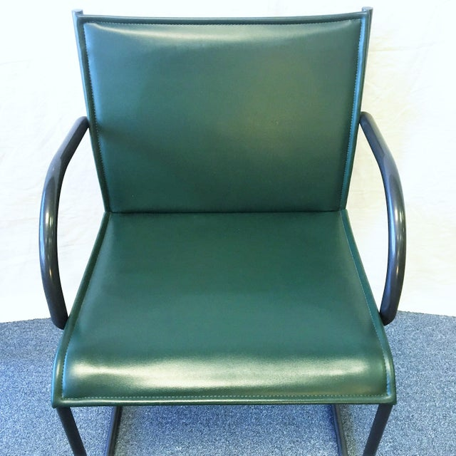 Mid-Century Modern Vintage Richard Schultz for Knoll Dark Green Leather Chairs - Set of 4 For Sale - Image 3 of 6