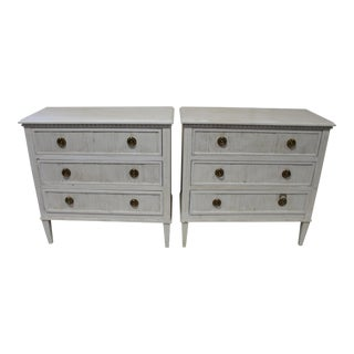20th Century Gustavian Dove Wing Gray Bedside Chests - a Pair