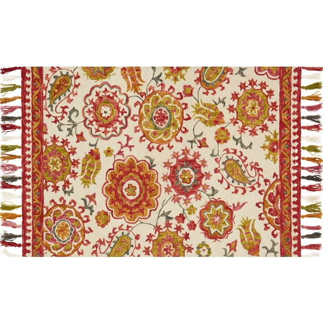 "Loloi Rugs Farrah Rug, Ivory / Berry - 1'6""x1'6"" For Sale"