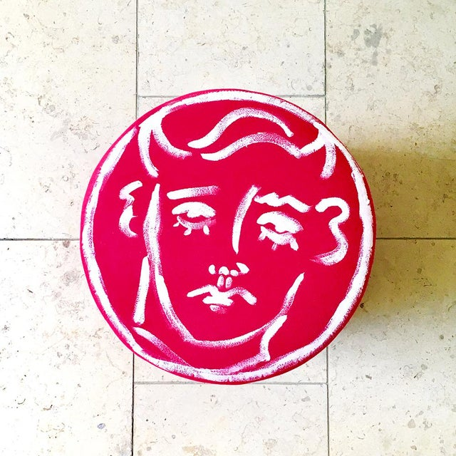 2010s Edward Hall Hand Painted Maud Stool by Talisman Bespoke For Sale - Image 5 of 7