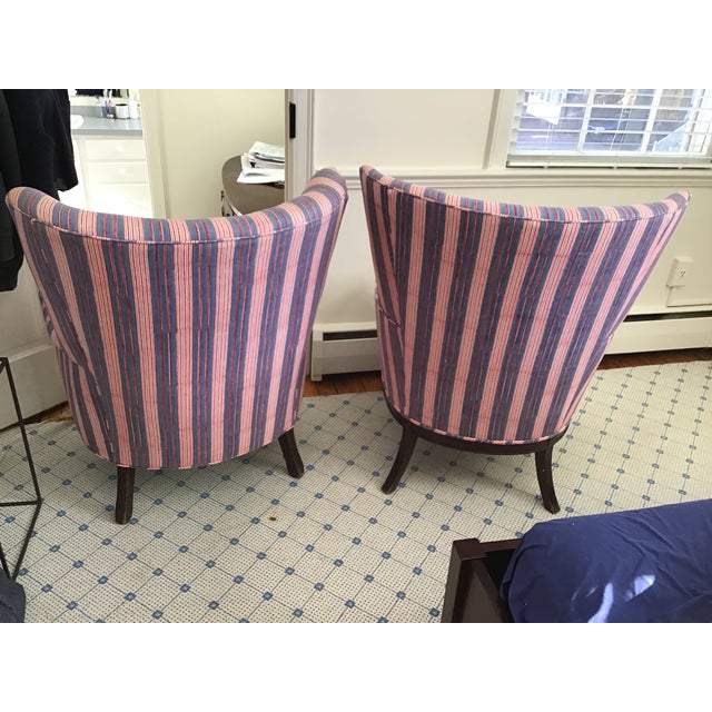 I inherited these two chairs from my grandmother. They are NOT matching. I had them reupholstered in John Robshaw's...
