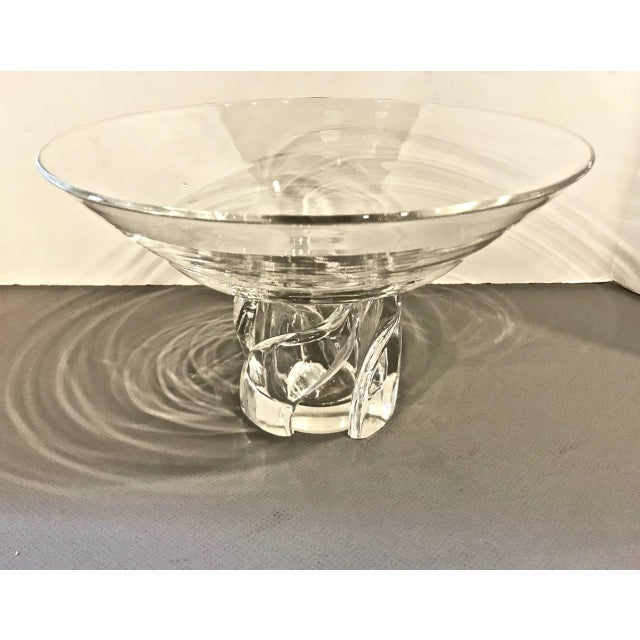 This is a stunning and unique Steuben pedestal bowl that dates to the second half of the 20th century. The bowl has the...