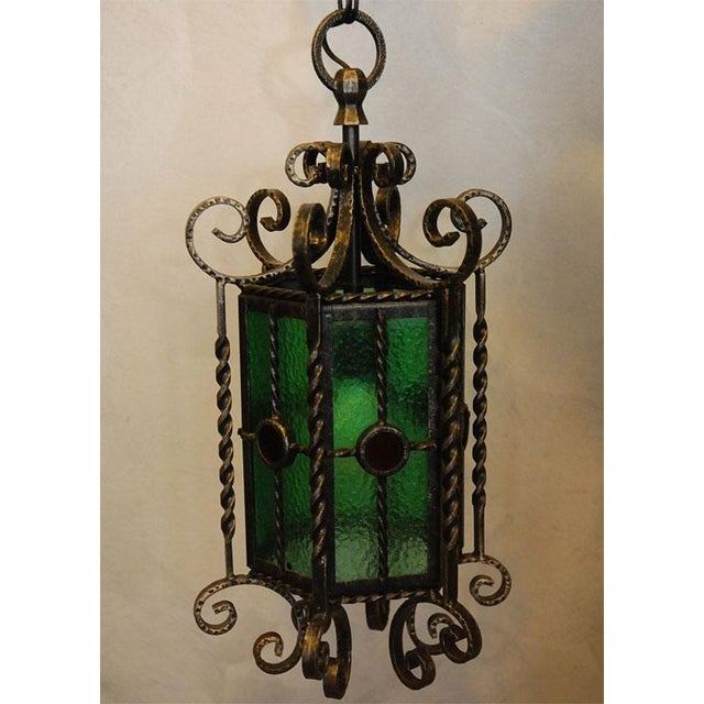 Black Wrought Iron Lanterns - A Pair For Sale - Image 8 of 10