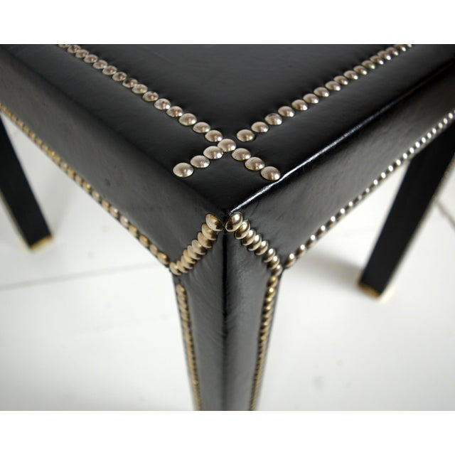 Mid Century Italian Leather Studded End Tables - a Pair - Image 5 of 10