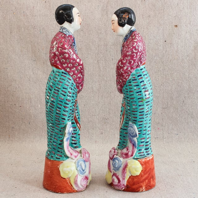 Antique Chinese Famille Rose Statues - Pair For Sale - Image 4 of 8