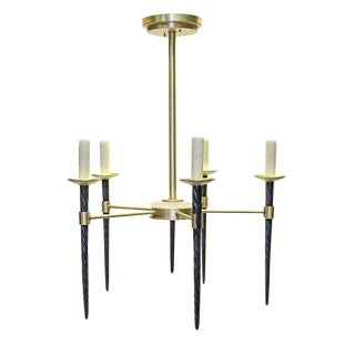 Contemporary Solid Brass & Bronze 5-Arm Narwhal Candelabra Chandelier For Sale