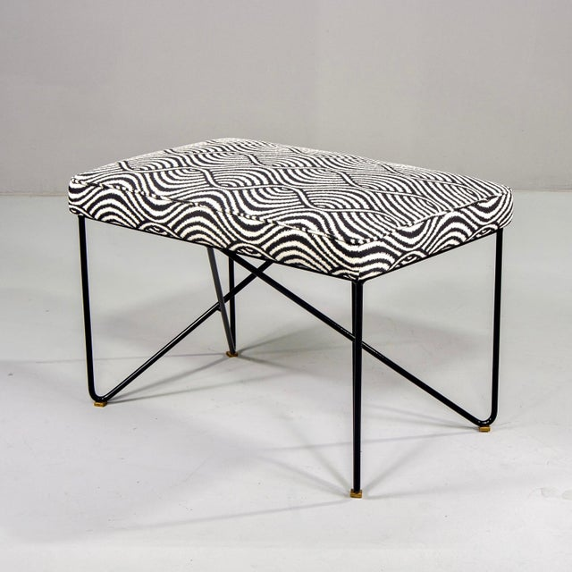 Italian Mid-Century Style Bench With Black Iron Hairpin Legs For Sale - Image 12 of 13