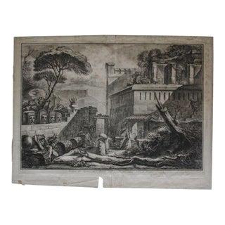 1789 Antique Francesco Piranesi Pompeii Excavations Desprez Etching Print For Sale