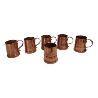 Vintage Copper Mugs - Set of 6 For Sale