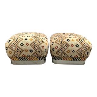 Karl Springer Style Soufflé Ottomans/Poufs - a Pair For Sale