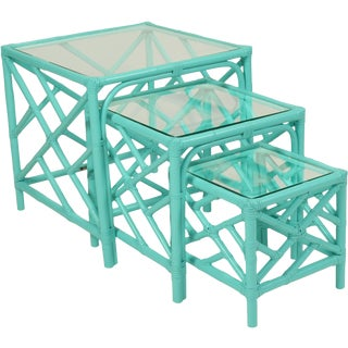 David Francis Chinese Chippendale Nesting Tables - Set of 3