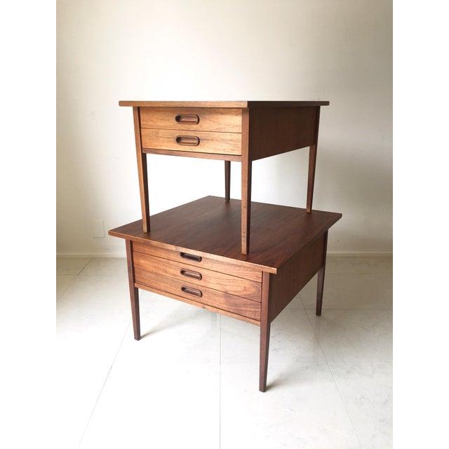Jens Risom Style Walnut Three Drawer Table - Image 7 of 7