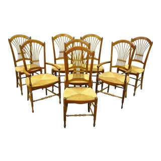 Set 8 Cherry Wood Wheat Sheaf Back Rush Seat Dining Room Chairs French Cottage