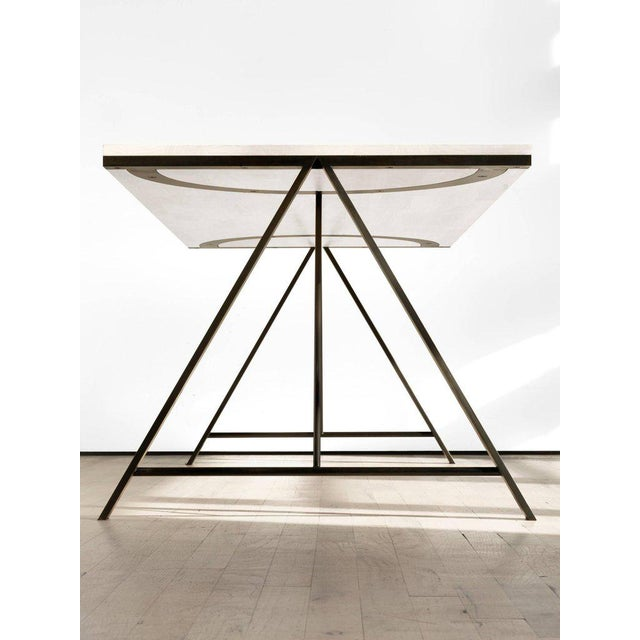 Kin & Company Contemporary Blackened Steel and White Washed Maple A-Table For Sale - Image 4 of 6