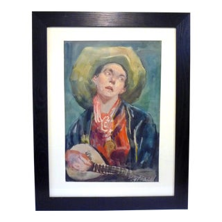Watercolor Painting of a Man With Hat Playing a Gourd-Shaped Guitar For Sale