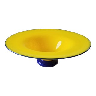 Late 20th Century Hand-Blown Glass Decorative Bowl For Sale