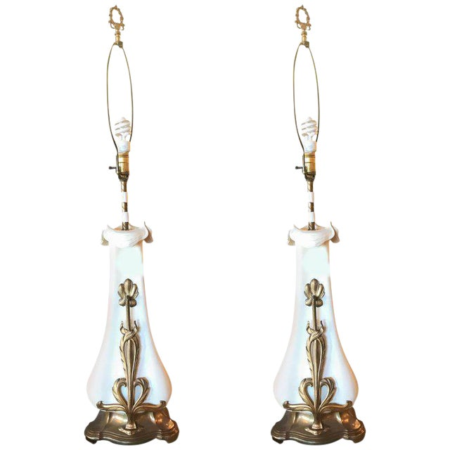 Pair of Gilt Brass Mounted Art Nouveau Table Lamps For Sale