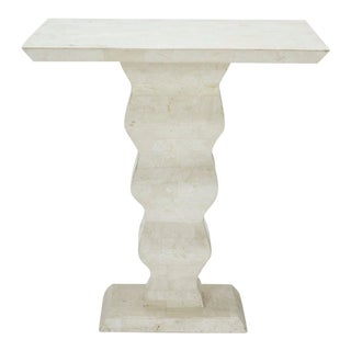"""White Tessellated Stone """"Currents"""" Side Table 1990s For Sale"""