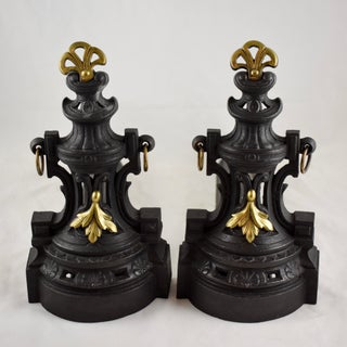 19th C. French Bronze & Cast Iron Second Empire Firedogs, Andirons or Chenets Preview