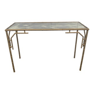 Gilded Metal Faux Bamboo Console Table With Smoked Mirrored Top For Sale
