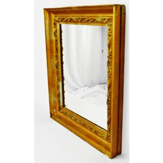 Antique Framed Wood Mirror With Carved Wood Filigree Trim Preview